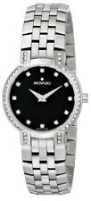 Movado Faceto 0605586 Quartz Sapphire Crystal Black Dial Stainless Steel Band a