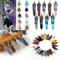 Natural Quartz Chakra Crystal Healing Point Cut Gemstone Pendant Reiki Necklace