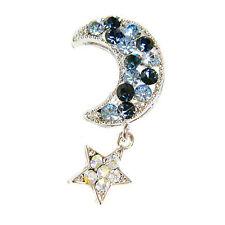 w Swarovski Crystal Blue CRESCENT MOON Wishing STAR fairy Pin Brooch Jewelry New