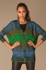 M Missoni Classic Degrade Ripple Knit Oversized Cardigan Sweater Blue L/XL $595