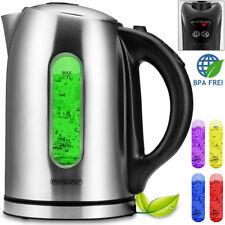 Bouilloire électrique 1,7 litres en acier inoxydable Lumière changeante Sans BPA