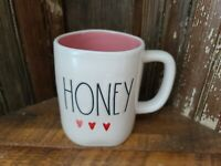 "RAE DUNN Valentines Day ""HONEY"" Coffee Mug Pink Inside Watercolor Hearts"
