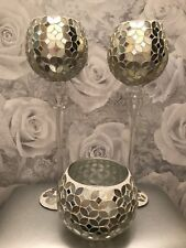 Beautiful Large Set Of 3 Candle Holders Mosaic Gold Champagne Shabby Chic💜