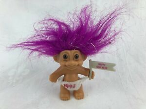 VINTAGE - 1993 NEW YEAR TROLL WITH FLAG AND SPARKLE HAIR