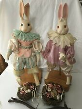 Wendy Brent Love and Roses Musical Rabbit Dolls Ltd Edition Easter Nests Rare!