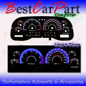 BLACK 97-00 Dodge Dakota/Durango INDIGLO GLOW BLUE/WHITE EL REVERSE GAUGES
