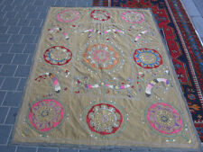 ANTIQUE UZBEK SILK HAND MADE- EMBROIDERED SUZANI 182x143-cm / 71.6x56.2-inches