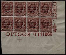 Regno 1924 - Crociera - cent.10 Sassone n.162 - Blocco di 8 + n. Tavola