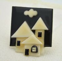 Vintage HOUSE PINS BY LUCINDA Mixed Materials House Pin Brooch