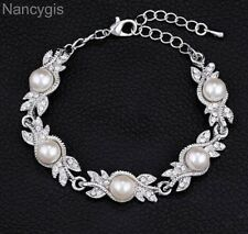 Elegant Pearl Silver Crystal Leaf Party Gift Bridal Wedding Bracelet