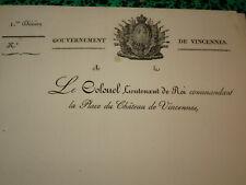 LETTRE EN-TETE GOUVERNEMENT MILITAIRE VINCENNES RESTAURATION LOUIS XVIII 1820