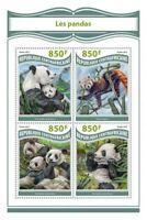 Central Africa - 2017 Pandas - 4 Stamp Sheet - CA17806a