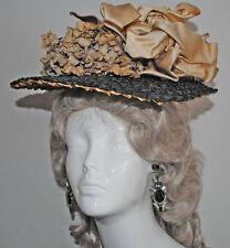 ANTIQUE DRESS STRAW HAT 1880's WITH FLOWERS AND SATIN RIBBONS