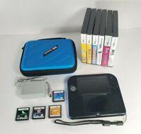 Nintendo 2DS FTR-001 Handheld Bundle - Black/Blue - 10 DS Games - Charger - Case