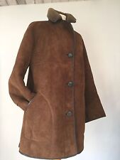 VINTAGE PRELOVED CLASSIC LADIES SHEEPSKIN / SHEARLING BROWN JACKET UK 16 / 42""