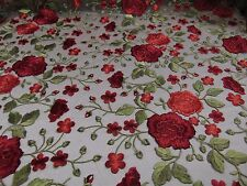 Secret Garden Red Scalloped Edge Flowers Embroidered Sheer Lace Mesh