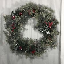 Christmas Pine Cone Red Berries Mirror Soft Needle Flecked Wreath 14""