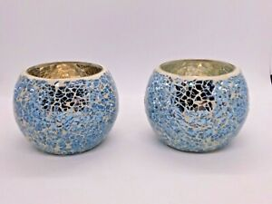 Pair Pastel Blue Mosaic Glass Votive Candle Holders - Lovely