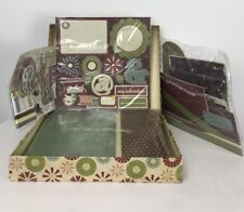 Antique Woodcut 12 X 12 Scrapbook Kit With Storage Box Browns Greens Blue