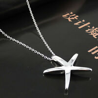 New Brief Modern Graceful Silver Starfish Clavicle Pendant Chain Necklace JT22
