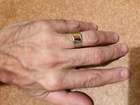 Rare WWII vintage Germany German flaf trench art man's ring 10.25 great art