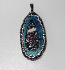 D018 Anhänger für Halskette Naturstein Strass Stein gefärbt Blau Lila Grün 04
