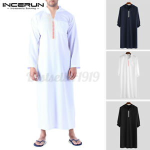 INCERUN Mens Ethnic Kaftan Saudi Arab Hoodies Dress Long Sleeve Plain Robe Shirt
