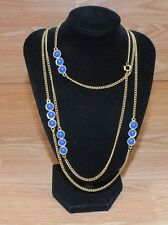 """54"""" Inch Gold Tone Dual Layer Costume Necklace with 3 Royal Blue Studs **READ**"""