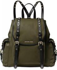 New Michael Kors Leila Flap Medium Stud Nylon Backpack Bag studding olive Gold