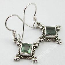 925 Silver Fancy SQUARE GREEN APATITE Gemset HANDMADE BESTSELLER Earrings 3.1 CM