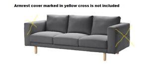 Ikea NORSBORG 3 Seat Sofa Section Cover,Finnsta Dark Grey,703.041.02, No Armrest