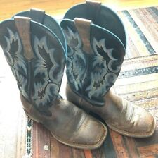 Ariat Tombstone Men's Brown Leather Cowboy Square Toe Riding Boots Size 9 EE