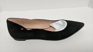 Coach Vierra Ballet Flats, Black Suede, Women's 11 M