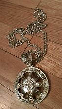 vintage silver color metal thick figaro link necklace large wheel Pendant Gaudy