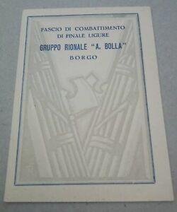 Tessera fascista PNF Gruppo Rionale GRF Finale Ligure Genova Duce Mussolini