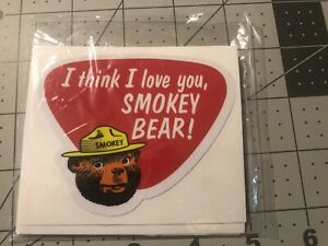 Smokey Bear Decal OLD SCHOOL 1960's I Think I Love You 2 For 1