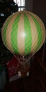 """Green Striped 13"""" Hot Air Balloon Model Aviation Ceiling Hanging Home Decor"""