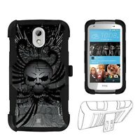 Beyond Cell Shell Case Armor Clip Holster For HTC Desire 526 Gray Wing Skull