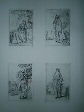 Planche gravure Jean Antoine Watteau quatres figures de modes