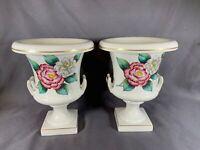2 Vintage TAC Trenton Pottery WHITE GOLD TRIM URN Vase Hand Painted Signed e371