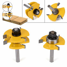 "2X Tongue and Groove Router Bit Set 1/4"" 1/2"" Shank T-type3-tooth Useful Cutter"