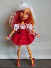 Monster High ooak Toralei doll ombre yarn hair reroot custom red dress repaint.