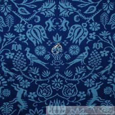 BonEful Fabric FQ Cotton Quilt VTG Blue Bird Tone Toile Peacock French Country S