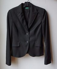 UNITED COLORS OF BENETTON BLACK STRIPE BLAZER JACKET - SIZE 40 (US: SIZE 2)