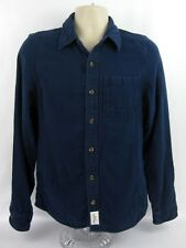 Abercrombie Fitch Muscle Heavy Flannel Shirt Mens Small Blue Long Slv Button New