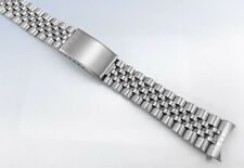 18mm 19mm 20mm Stainless Steel Jubilee Style WATCH Band Bracelet w Curved Ends