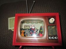 NWT Animated Musical LED Lighted Retro TV Christmas Santa Claus & Running Train
