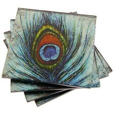 Peacock Feather Set of 4 Glass Coasters or Drink Mats Metallic Aqua Blue