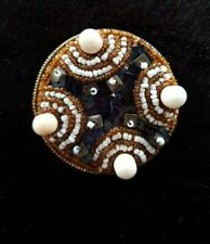 Large Micro-Mosaic Beaded Brooch