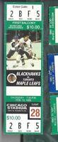 1986 2/13 ticket stub Toronto Maple Leafs v Chicago Blackhawks Chicago Stadium